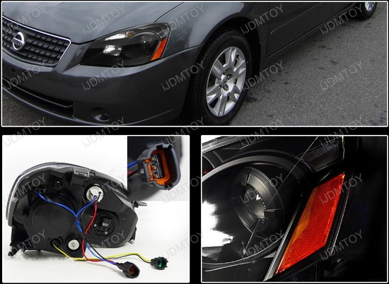 2005-2006 Nissan ALTIMA Black Housing with Amber Reflectors Projector Headlights