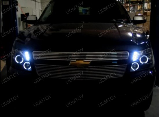 07-10 Chevrolet AVALANCHE Chrome Housing Dual Halo Angel Eyes Projector LED Headlights