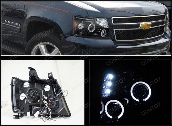 2007-2011 Chevrolet AVALANCHE Smoke Lens Dual Halo Angel Eyes Projector LED Headlights