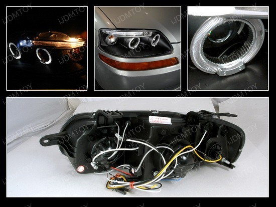 04 08 Chevrolet Aveo Black Dual Halo Projector Headlights With Leds