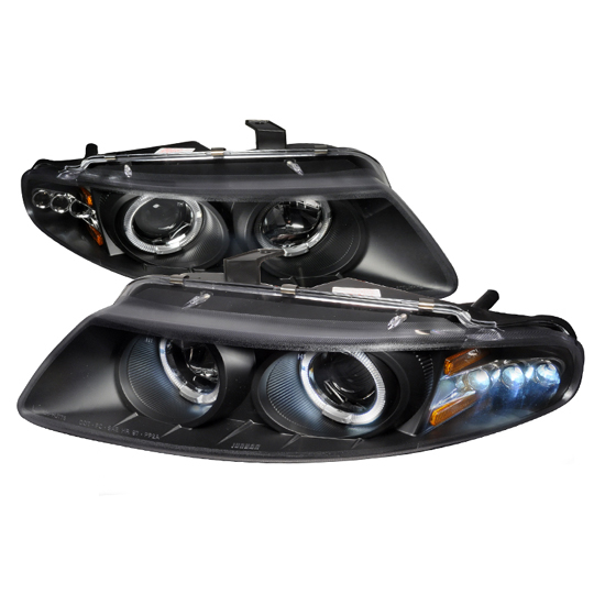 97-00 Dodge AVENGER Black Housing Dual Halo Angel Eyes Projector LED Headlights