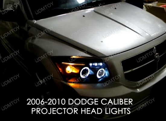 07-10 Dodge CALIBER Chrome Dual Halo Angel Eyes Projector LED Headlights