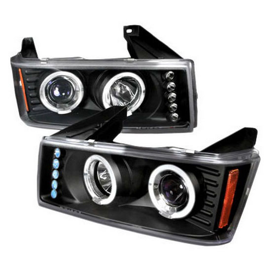 2004-2011 Chevrolet Colorado Black Housing Dual Halo Angel Eyes Projector LED Headlights