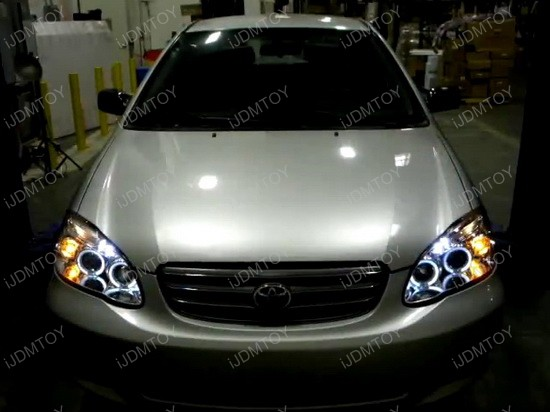 2003 2008 Toyota Corolla Chrome Housing Dual Halo Angel Eyes Projector Led Headlights