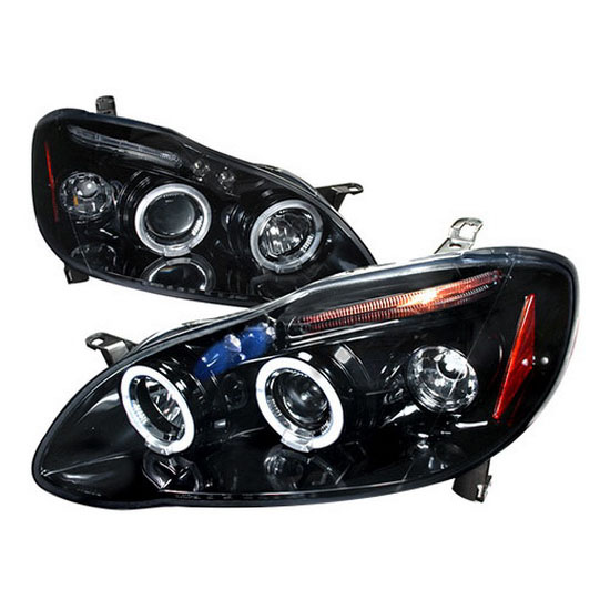 2003-2008 Toyota COROLLA Black Housing Dual Halo Angel Eyes Projector LED Headlights