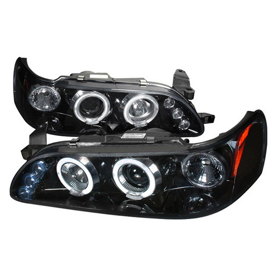 1993-1997 Toyota COROLLA Black Housing Dual Halo Angel Eyes Projector LED Headlights