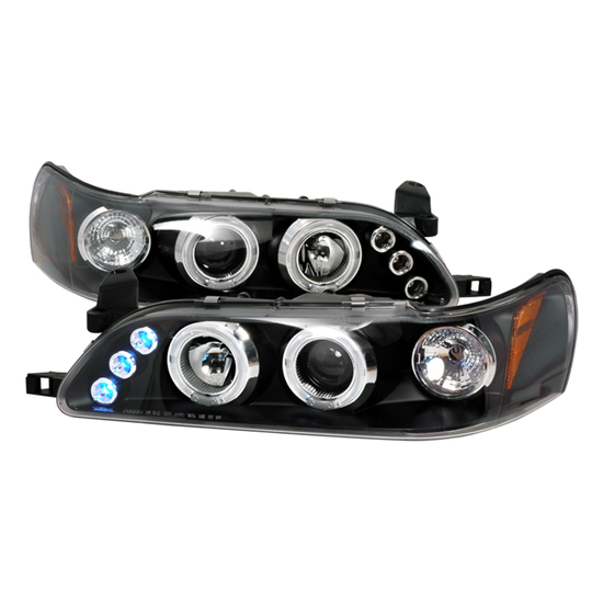 93-97 Toyota COROLLA Black Housing Dual Halo Angel Eyes Projector LED Headlights