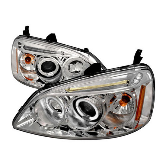 2001-2003 Honda CIVIC DX/EX/GX/HX/LX Chrome Housing Dual Halo Angel Eyes Projector LED Headlights