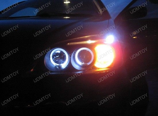 2001-2003 Honda CIVIC Black Housing Dual Halo Angel Eyes Projector LED Headlights