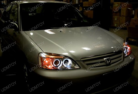 2001-2003 Honda CIVIC DX/EX/GX/HX/LX Black Housing Dual Halo Angel Eyes Projector LED Headlights