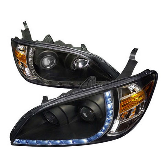 2004-2005 Honda CIVIC 2/4DR Black Housing Euro R8 Style Projector Headlights
