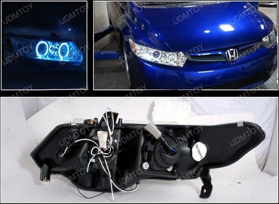 06 11 Honda CIVIC Chrome Dual Halo Rings Projector LED