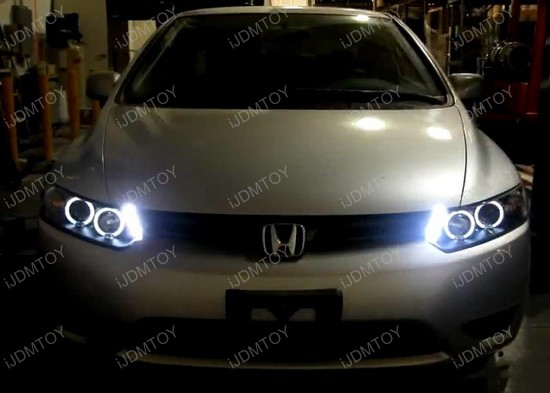 06 11 honda civic chrome dual halo rings projector led. Black Bedroom Furniture Sets. Home Design Ideas