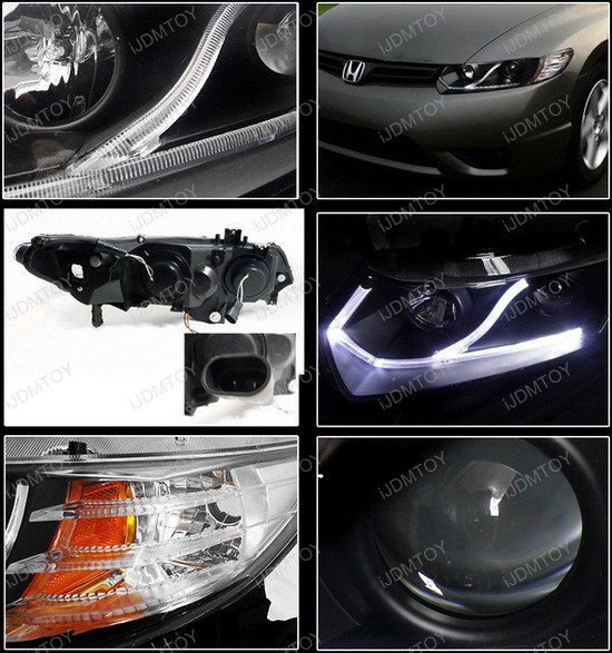 2006-2011 Honda CIVIC 2-DOOR COUPE Black Housing Projector Headlights