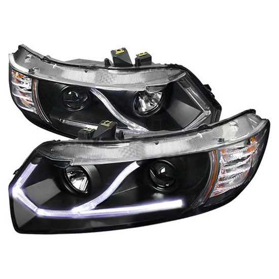 2006-2011 Honda CIVIC 2-DOOR COUPE Black Housing Dual Halo Angel Eyes Projector Headlights