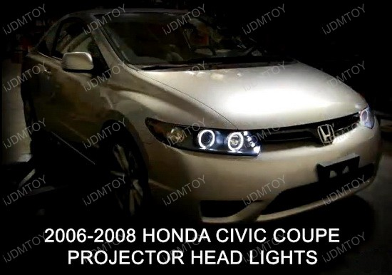 2006-2011 Honda CIVIC Black Housing Dual Halo Angel Eyes Projector LED Headlights