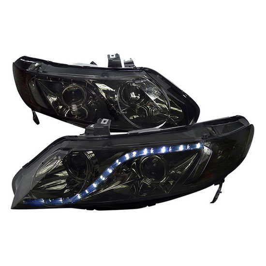 06-11 Honda CIVIC 4DR SEDAN Smoke Lens R8 Style Projector LED Headlights