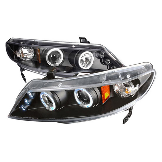 06-11 Honda CIVIC 4DR SEDAN Black Housing Dual Halo Angel Eyes Projector LED Headlights