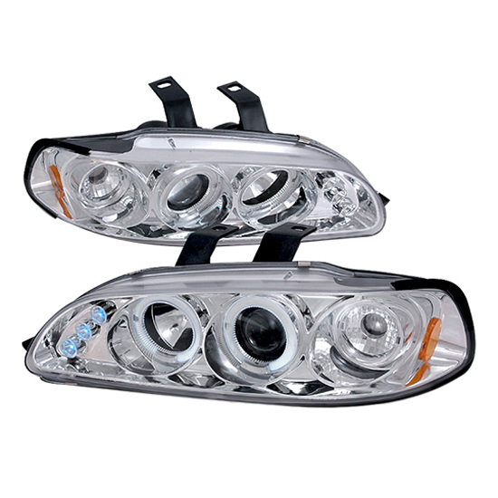 92-95 Honda CIVIC 3DR HATCHBACK Chrome Housing Dual Halo Angel Eyes Projector LED Headlights