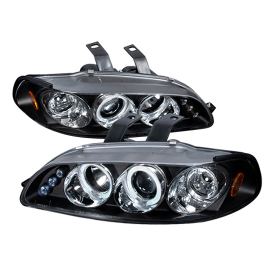 1992-1995 Honda CIVIC 3DR HATCHBACK Black Housing Dual Halo Angel Eyes Projector LED Headlights