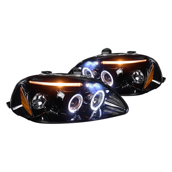 1996-1998 Honda CIVIC Black Housing Halo LED Projector Headlights