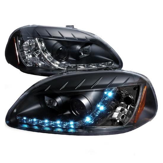1996-1998 Honda CIVIC Black Housing R8 Style Projector LED Headlights