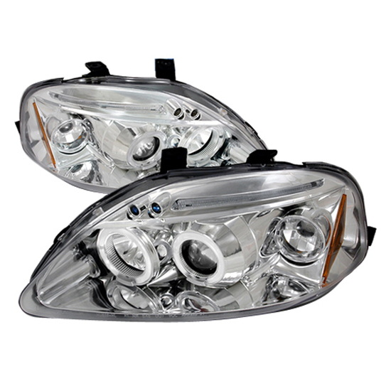 99-00 Honda CIVIC Chrome Housing Dual Halo Angel Eyes Projector LED Headlights