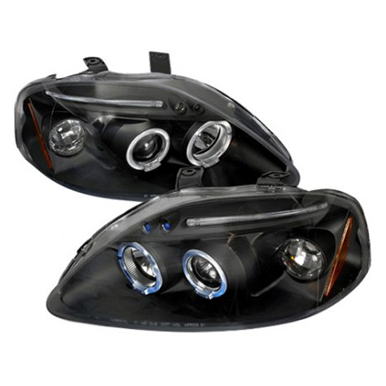 99-00 Honda CIVIC Black Housing Dual Halo Angel Eyes Projector LED Headlights