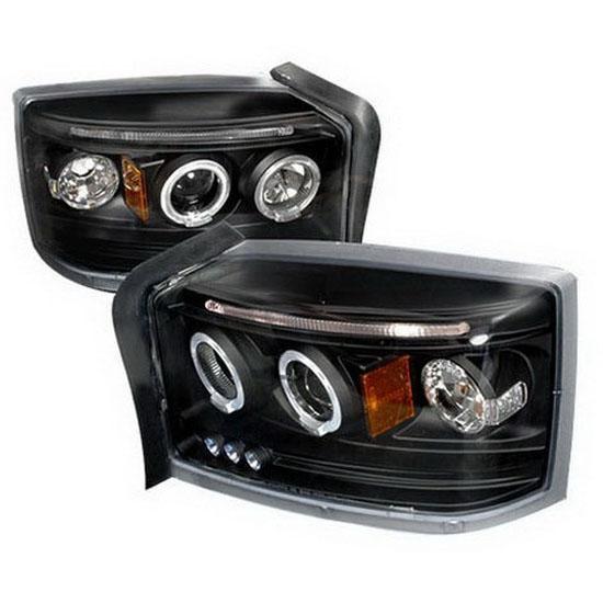 05-07 Dodge Dakota Black Halo Projector Headlights with LEDs
