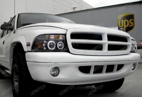 97 04 Dodge Dakota Black Housing Dual Halo Angel Eyes Projector Led Headlights