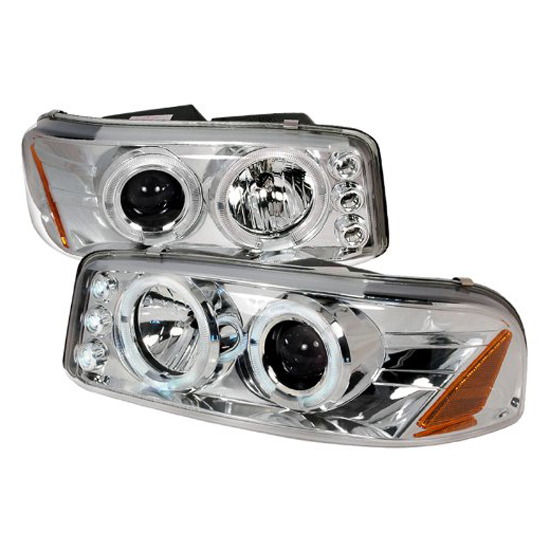 00-06 GMC DENALI/YUKON Chrome Housing Dual Halo Angel Eyes Projector LED Headlights