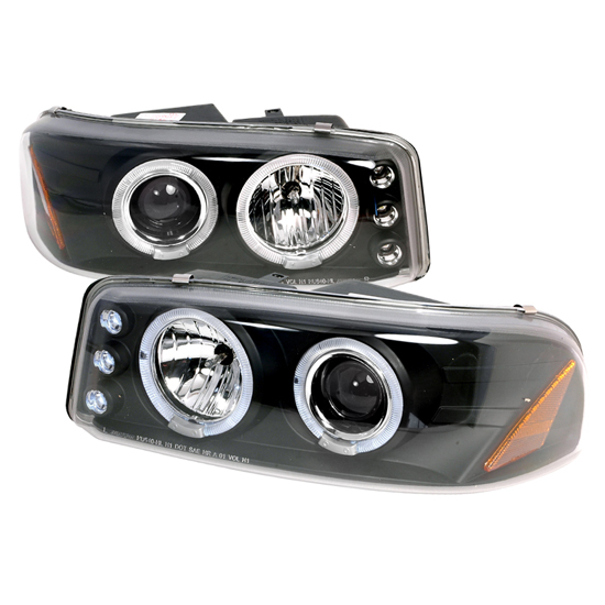 2000-2006 GMC DENALI/YUKON Black Housing Dual Halo Angel Eyes Projector LED Headlights