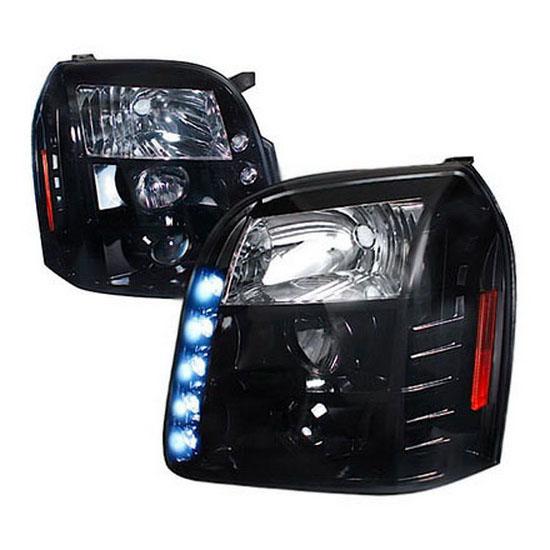 2007-2012 GMC YUKON DENALI Black Housing with Smoke Lens Projector LED Headlights