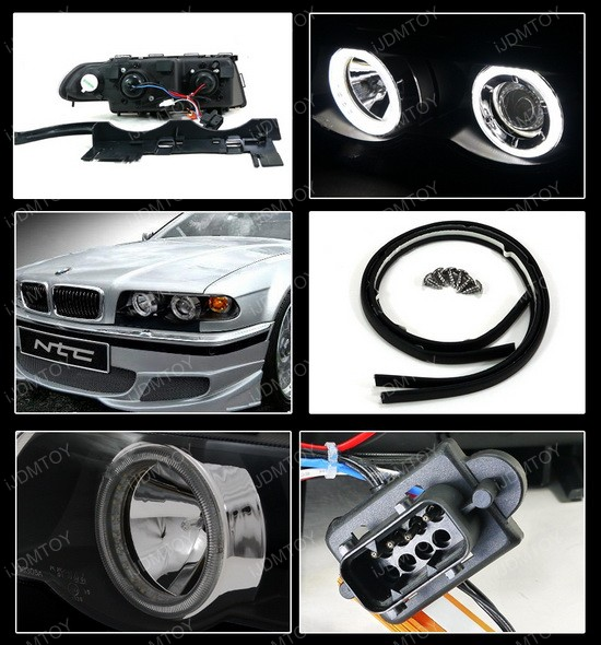 95 01 Bmw E38 7 Series Black Dual Halo Projector Headlights With Amber Reflectors