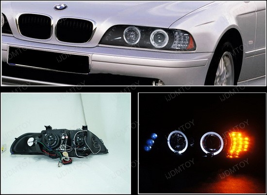 1997-2003 BMW E39 5-SERIES Black Housing Smoke Lens With Dual Halo Angel Eyes Projector LED Headlights