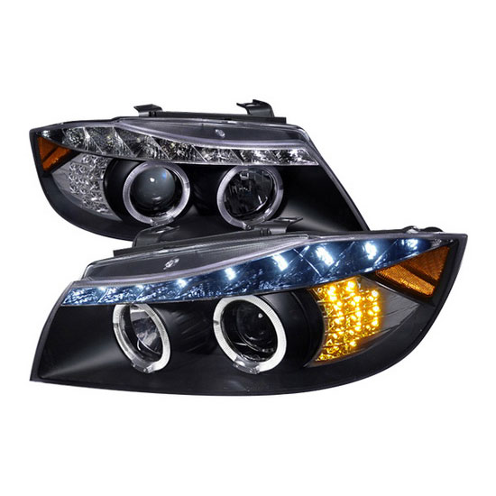 2005-2008 BMW E90 Black Housing With R8 Style Dual Halo Angel Eyes Projector LED Headlights