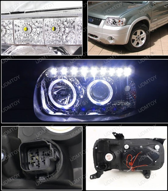 05 07 Ford Escape Chrome Halo Angel Eyes Projector Led