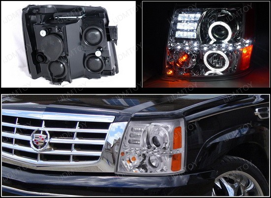 02 06 Cadillac Escalade R8 Dual Halo Projector Led Daytime Headlights