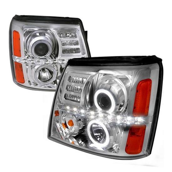 02-06 Cadillac ESCALADE Chrome Housing R8 Style Dual Halo Angel Eyes Projector LED Headlights