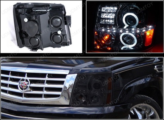 02-06 Cadillac ESCALADE Smoke Housing R8 Style Dual Halo Angel Eyes Projector LED Headlights