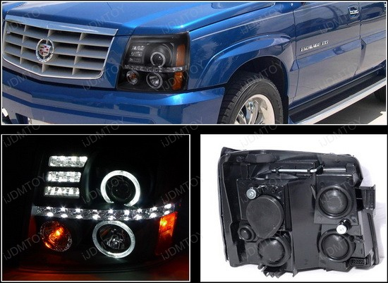 02-06 Cadillac ESCALADE Black Housing Dual Halo Angel Eyes Projector LED Headlights