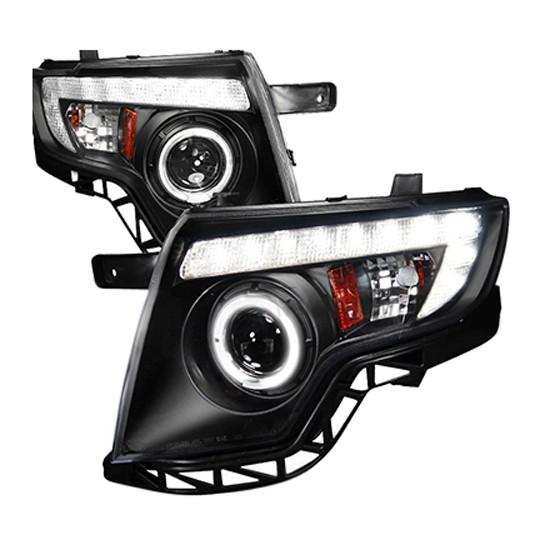 Ford Edge Black Housing Clear Lens Halo Angel Eye Projector Led Headlights