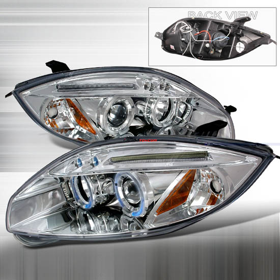 06-08 Mitsubishi ECLIPSE Chrome Housing Dual Halo Angel Eyes Projector LED Headlights
