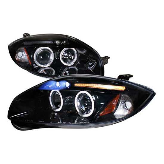 2006-2011 Mitsubishi ECLIPSE Black Housing Dual Halo Angel Eyes Projector LED Headlights