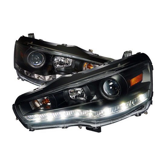 2008-2012 Mitsubishi LANCER/EVO Black Housing Euro R8 Style Projector LED Headlights