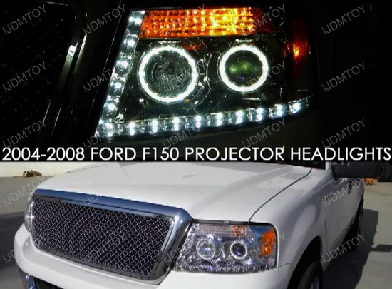 04-08 Ford F150 Chrome Halo Projector LED Headlights