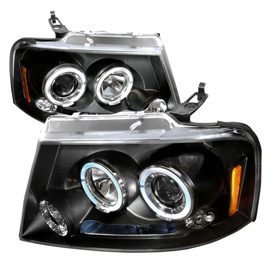04-08 Ford F150 Black Housing Dual Halo Angel Eyes Projector LED Headlights