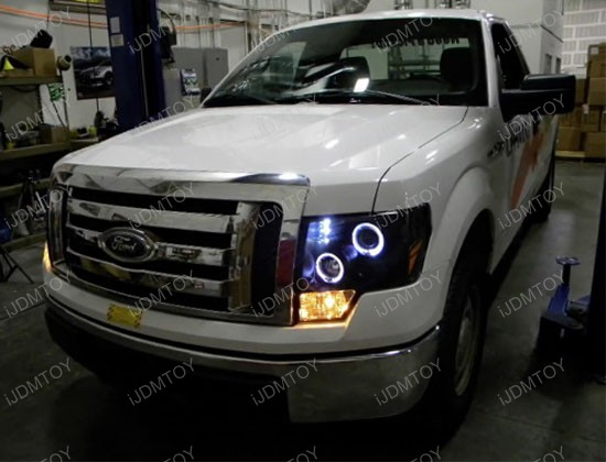 09 11 Ford F150 Chrome Dual Halo Projector Led Headlights