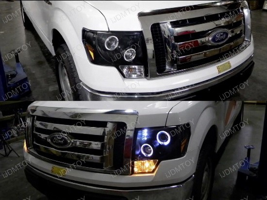 Ford F Chrome Housing Dual Halo Angel Eyes Projector Led Headlights