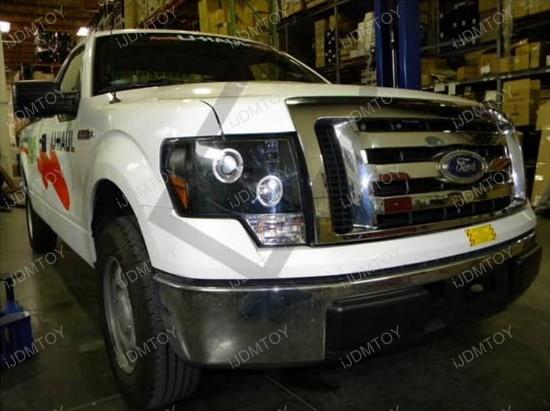 Ford F Black Housing Dual Halo Angel Eyes Projector Led Headlights